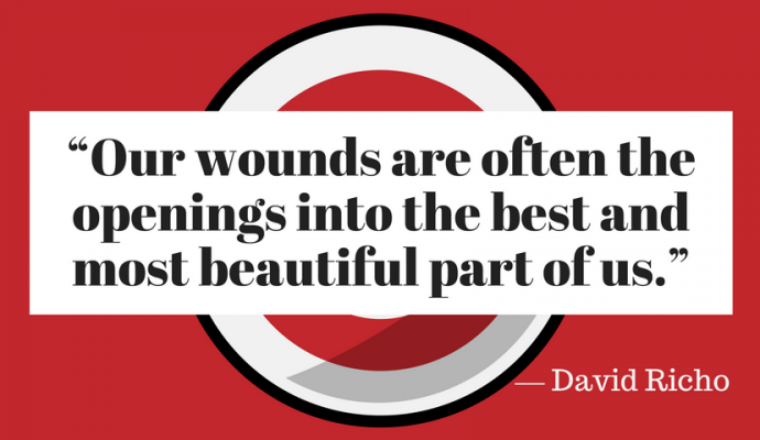 Our wound are often teh opening into the best and most beautiful part of us - david richo, psykoterapeut