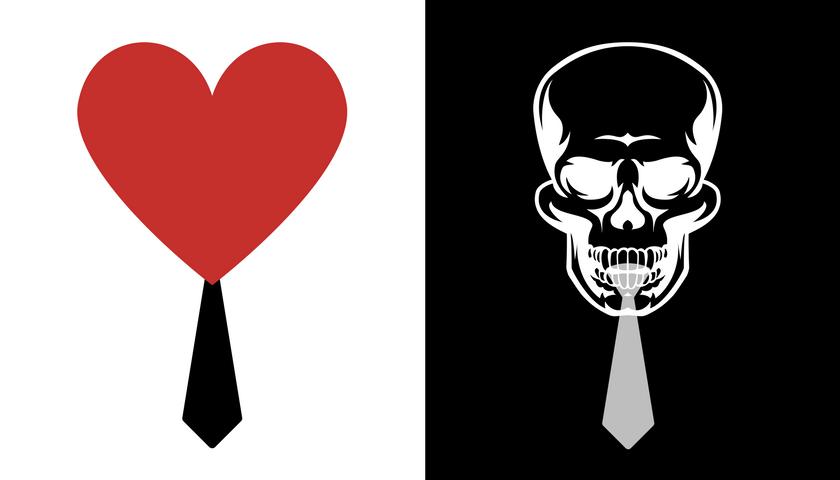 er du en leder, hjerte med slips kranium med slips i sort og hvid