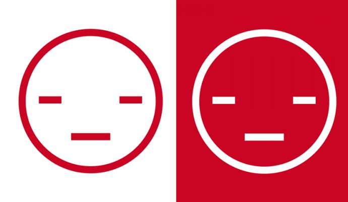 to ansigter i rødt og hvidt