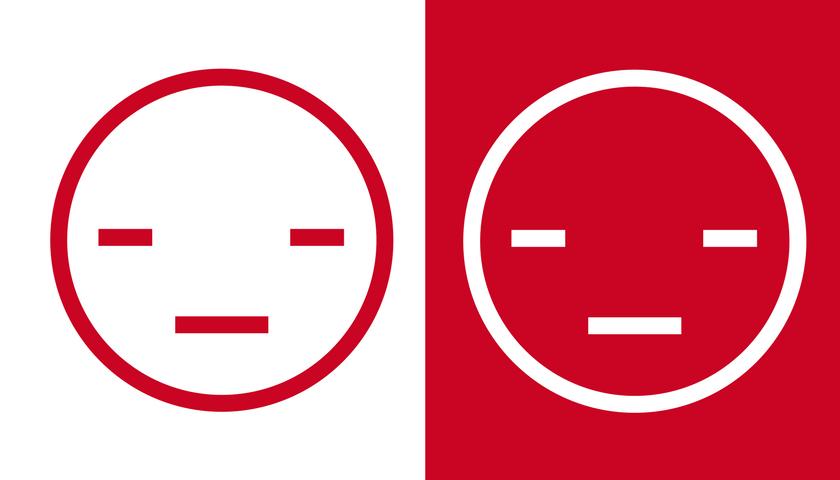 to ansigter i rødt og hvidt   Når skammen rammer skam ansigter