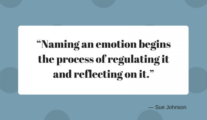 "Naming an emotion begins the process of regulating it and reflecting on it."" — Sue Johnson"